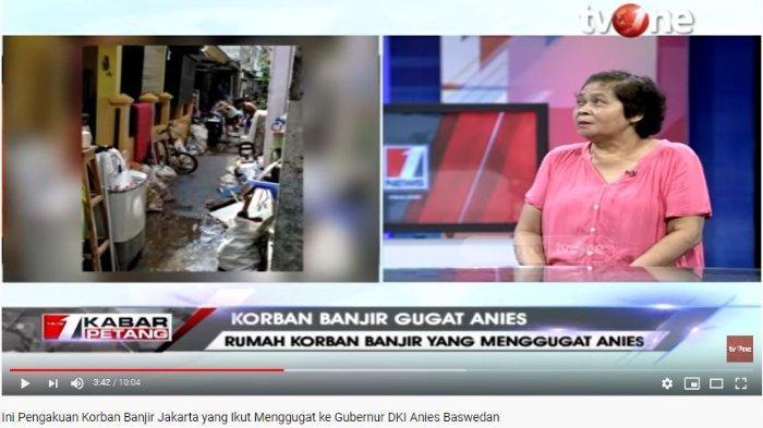 Suminem Patmosuwito, satu di antara korban banjir Jakarta yang menggugat Gubernur DKI Jakarta Anies Baswedan mengungkapkan kisah sedihnya.