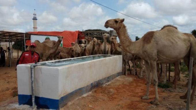 Satu di antara sumur dalam di Somalia yang dikerjakan dalam Program 'Water for Live'. Sumur dalam ini dilengkapi dengan panel tenaga surya dan mesin pembangkit.