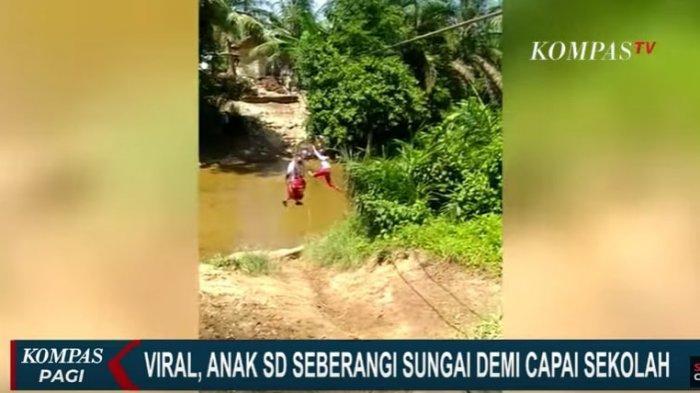 VIRAL Video 3 Murid SD Bergelantungan Menyeberang Sungai, Babinsa dan Kades Ungkap Fakta di Baliknya