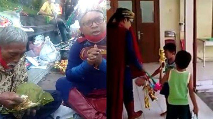 Borong Mainan Dagangan Ngatimin sang Pejuang, 'Superman' Bagikan 2 Karung Mainan ke Panti Asuhan