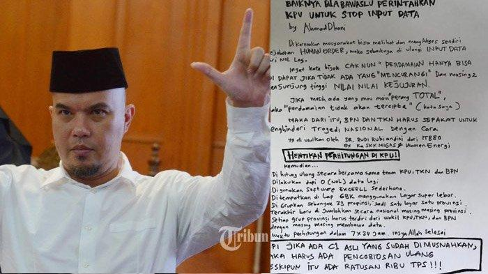 Ahmad Dhani Tulis Surat untuk Bawaslu, Ini Tujuh Permintaannya