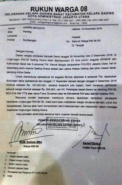 Beredar Surat Permintaan Dana Rp 120 Juta untuk Aksi Damai 2 Desember