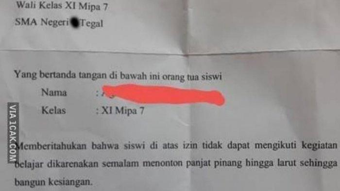 surat izin nyleneh siswi SMA di Tegal