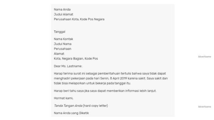 Cara Menulis Surat Izin Sakit Tidak Masuk Kerja Dan Contohnya Bisa Dikirim Langsung Atau Email Halaman All Tribunnews Com Mobile