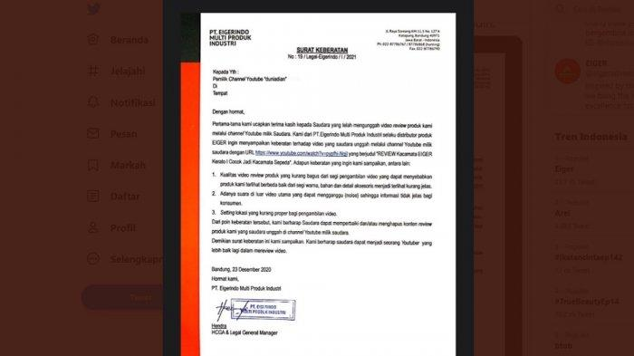 Surat keberatan dari Eiger yang diterima Dian Widinayarko