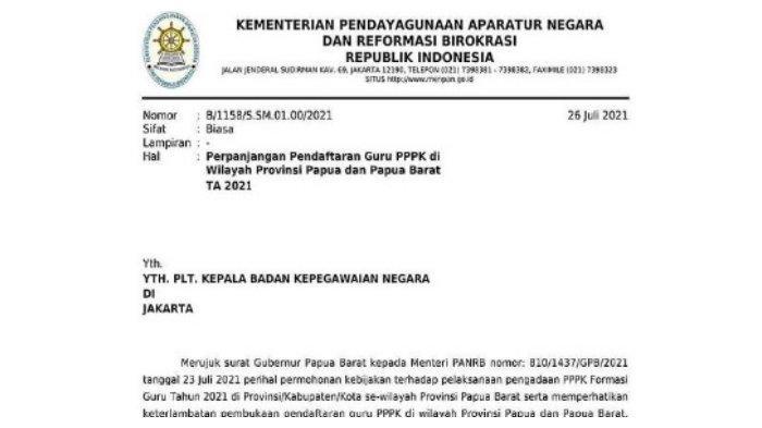 Surat Kemenpan RB Nomor: B/1158/S.SM.01.00/2021.