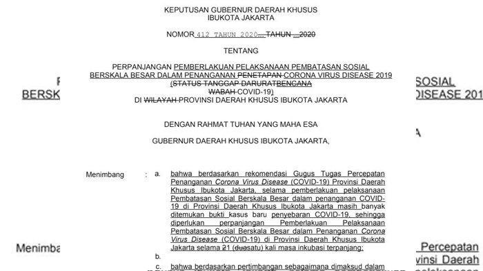 Surat keputusan gubernur yang beredar di media sosial