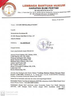 Komunitas Pasien Cuci Darah Indonesia (KPCDI) telah mengirimkan surat kepada Kementerian Kesehatan RI, Rabu (31/7/2019) kemarin