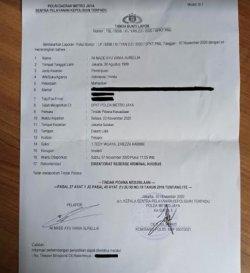 Surat laporan polisi yang dilayangkan Aurel JKT48 terkait tindakan asusila yang dilaminya beberapa waktu lalu.