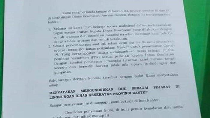 Surat penunduran diri dari 20 pejabat Dinas Kesehatan Banten yang beredar di media sosial dibenarkan Kepala BKD BantenKomarudin. BKD bakal memanggil para pejabat untuk memeriksa alasan pengunduran diri tersebut.