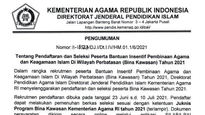 Surat pengumuman rekrutmen guru PAI untuk kawasan 3T 2021