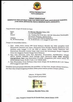 Surat Pernyataan Tommy Soeharto. / istimewa