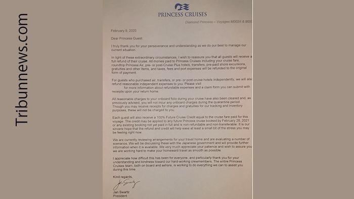 Surat resmi dari President Princess Cruises Jan Swartz yang dikeluarkan Minngu (9/2/2020) malam sekitar jam 22:00 waktu Jepang.