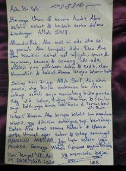 Surat Rizieq Shihab untuk anak dan istrinya (Istimewa)