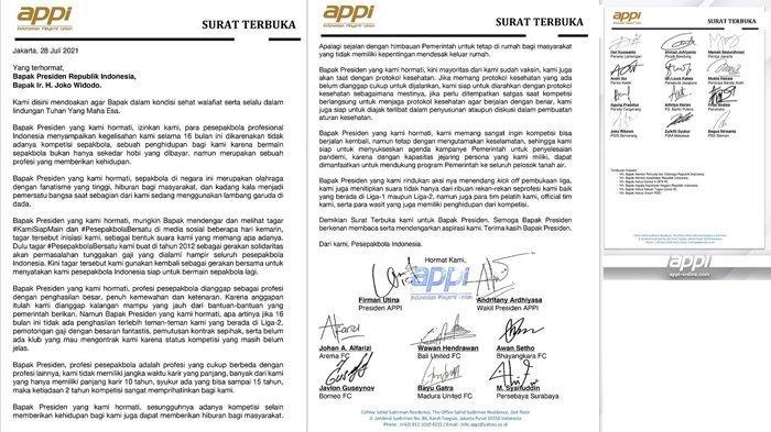 Surat terbuka Asosiasi Pesepakbola Profesional Indonesia (APPI) untuk Presiden Republik Indonesia, Joko Widodo.