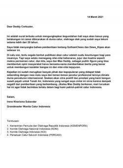 Surat Terbuka grandmaster wanita catur Indonesia, Irene Kharisma Sukandar kepada Deddy Corbuzier perihal pemberitaan Dewa Kipas