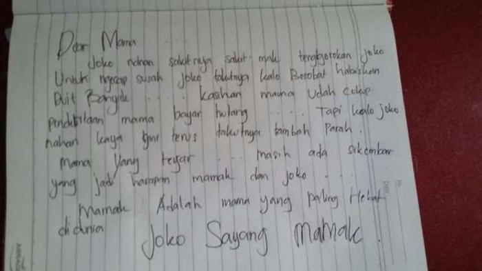 Ini Surat untuk Sang Mama Sebelum Joko Gantung Diri