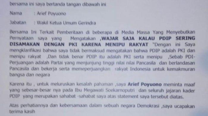 Wakil Ketua Umum Gerindra Minta Maaf soal Ucapan 'Wajar PDIP Disamakan dengan PKI'