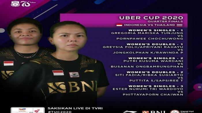 Susunan Pemain Tim Indonesia hadapi Thailand di Perempat Final Piala Uber 2021