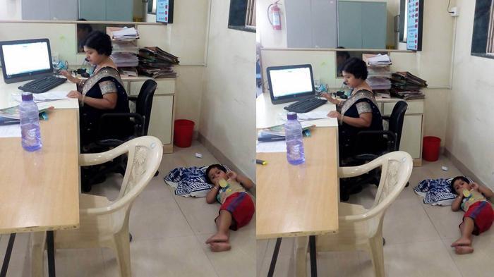 Foto Karyawati Bank Ini Jadi Viral, Ajak Anak ke Kantor dan Tidur di Lantai