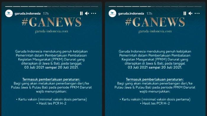 Syarat penerbangan domestik dari Garuda Indonesia.