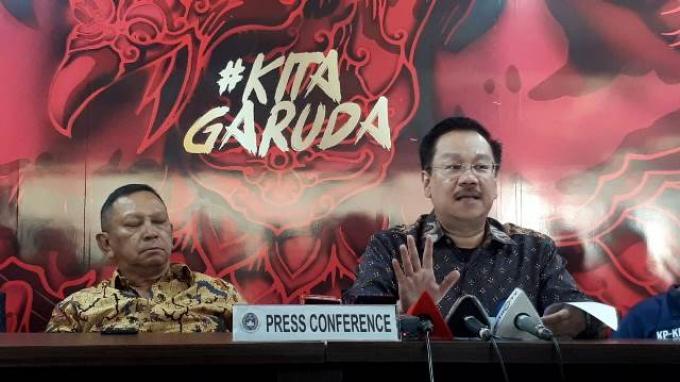 Ketua Komite Pemilihan (KP) PSSI, Syarif Bastaman saat mengumumkan Bakal Calon Ketum, Waketum dan Exco PSSI di Kantor PSSI, Senayan, Jakarta, Jumat (4/10/2019). Tribunnews/Abdul Majid