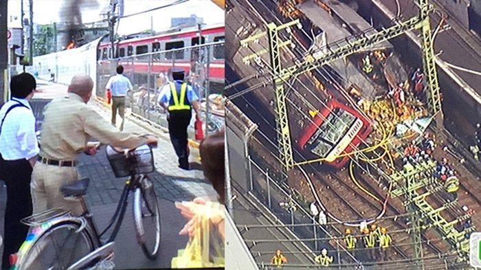 Tabrakan kereta api Keikyu dan petugas ambulance membantu para korban. Kepulan asap kebakaran akibat hantaman kereta dan truk bertabrakan, serta buah jeruk bertebaran jatuh dari truk yang bertabrakan dengan kereta api.