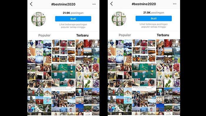 Tagar #bestnine2020 telah diposting sebanyak 21.9k pengguna Instagram, Jumat (25/12/2020)