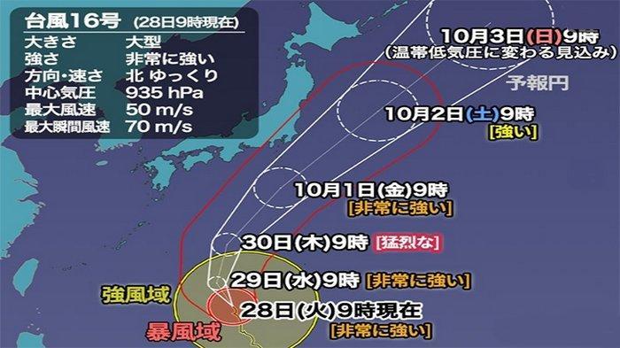 Taifun No.16 Memasuki Jepang Selatan, Diperkirakan Jumat Bergeser ke Tokyo