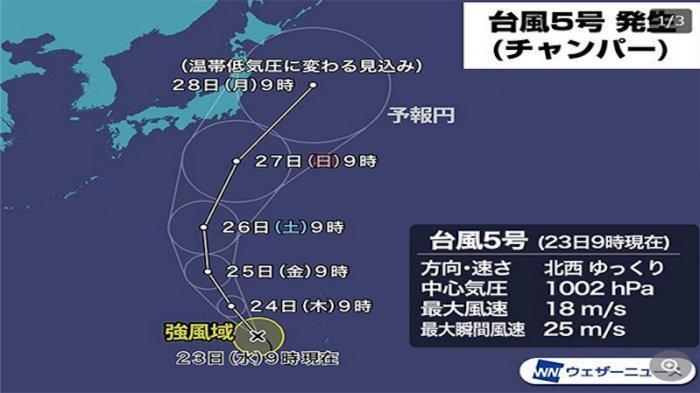 Taifun No.5 Akan Mampir ke Pulau Honshu Jepang 27 Juni 2021