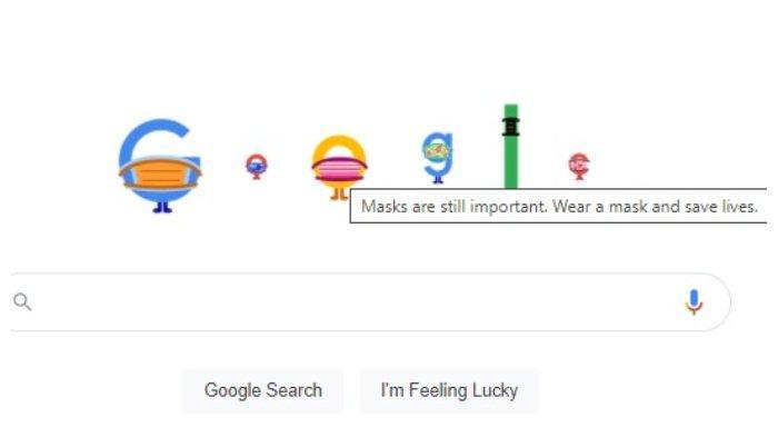 Google Doodle Hari Ini Bermasker dan Berjarak, Ingatkan soal Pencegahan Covid-19
