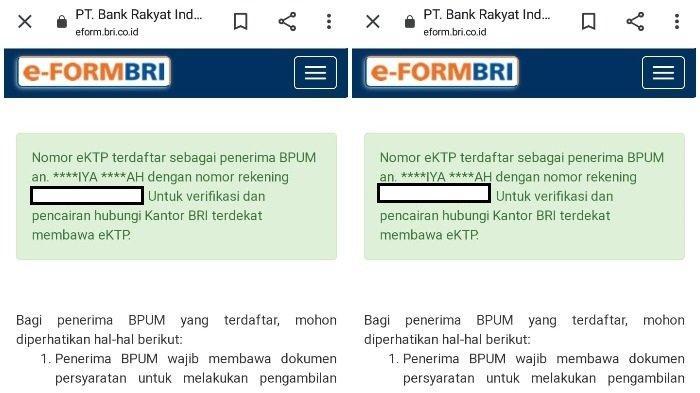 Tampilan hasil pencarian penerima BLT UMKM Rp 1,2 juta di eform.bri.co.id/bpum. Klik eform.bri.co.id/bpum atau banpresbpum.id di HP, inilah cara cek penerima BLT UMKM di BRI dan BNI. Lalu masukkan NIK KTP.