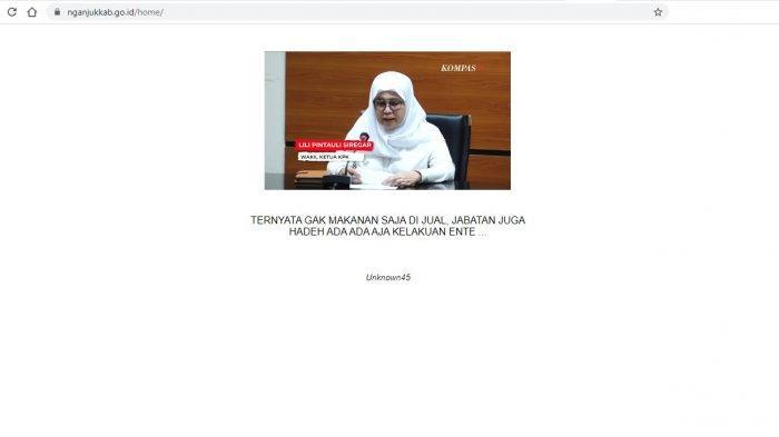 Pasca-OTT KPK Bupati Nganjuk, Situs Pemkab Diretas, Tertulis: Gak Makanan Saja Dijual, Jabatan Juga