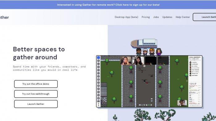Tampilan Website Gather Town