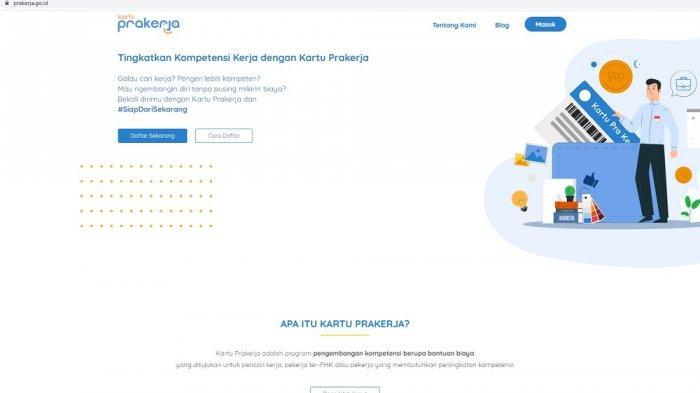 Tampilan website Pra Kerja.