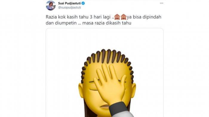 Tanggapan layar cuitan Susi Pudjiastuti