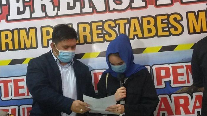 Artis Hana Hanifah menangis di Mapolrestabes Medan saat konferensi pers, Selasa (14/7/2020) malam.