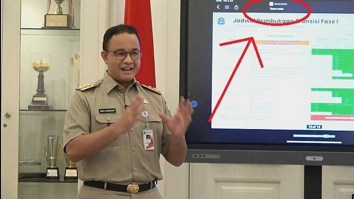 Tangkap layar Anies Baswedan tengah lakukan konferensi press soal PSBB DKI Jakarta