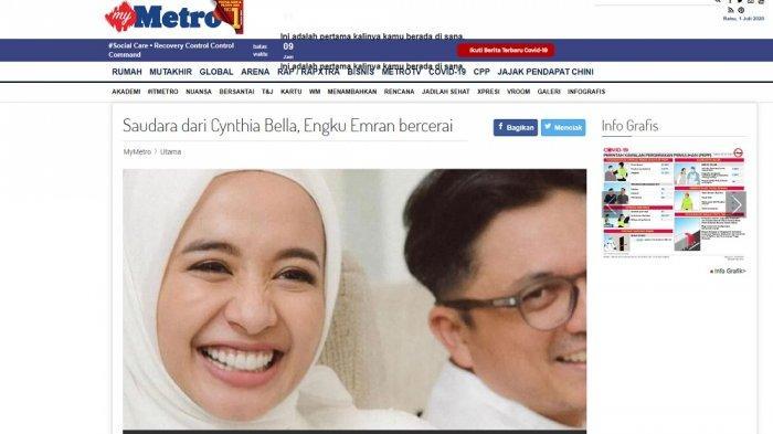 Tangkap layar berita Harian Metro soal perceraian Laudya Cynthia Bella