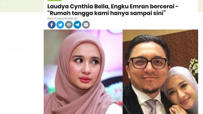 Tangkap layar berita MStar soal perceraian Laudya Cynthia Bella