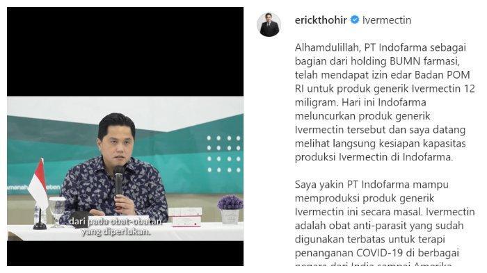 Tangkap Layar Instagram Erick Thohir
