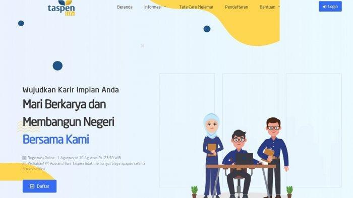 Tangkap layar laman pendaftaran lowongan Taspen Life.