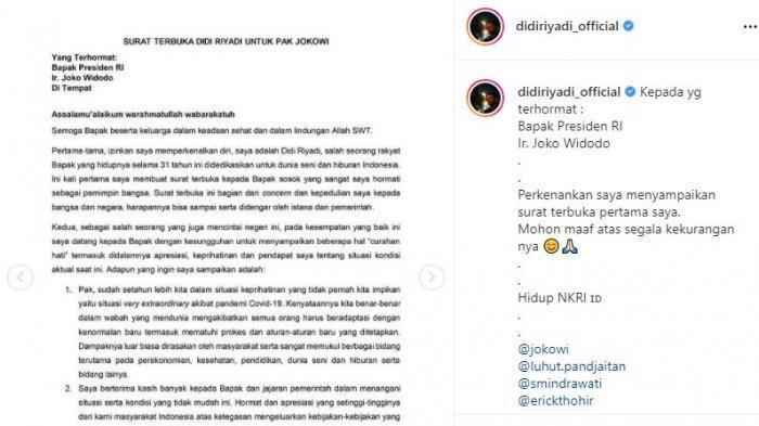 Tangkap layar surat terbuka artis Didi Riyadi kepada Jokowi