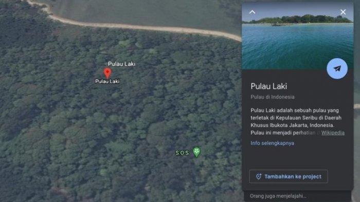 Tangkapan layar titik S.O.S di Pulau Laki yang terlihat di Google Maps(Google Maps)