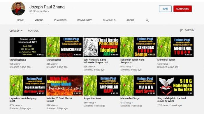 Tangkapan layar akun YouTube milik Jozeph Paul Zhang.