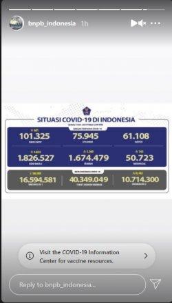 Tangkapan layar Insta Story akun Instagram resmi @bnpb_indonesia