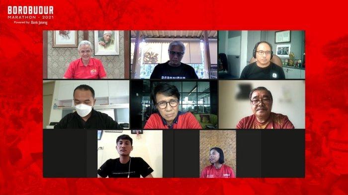 Tangkapan layar konferensi pers 'Borobudur Marathon Menyapa' yang digelar secara daring, Selasa (31/8/2021)/Lusius Genik.