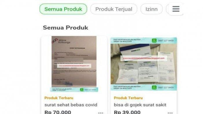 Tangkapan layar surat dokter dan bebas covid-19 di toko online