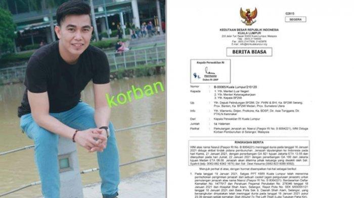 Tangkapan layar surat keterangan KBRI di Kuala Lumpur yng menjelaskan adanya pembunuhan yang terjadi di Malaysia/ Nasrul, TKI Asal Asahan yang di Bunuh di Malaysia (istimewa )