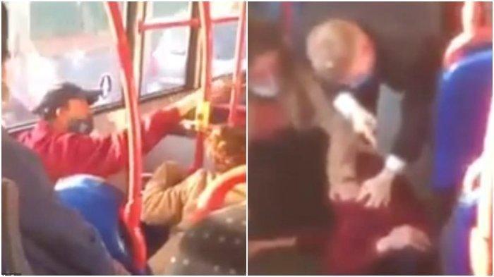 Viral di Medsos, Pria Penumpang Bus Tendang Wanita karena Debat Soal Pemakaian Masker
